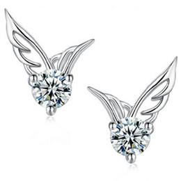 Wholesale Wings Piercing - 925 Sterling Silver Plated Earrings Angel Wings DHL Pierced Female Ear Stud for Women Jewelry Fashion Earring Valentine's Day Gift