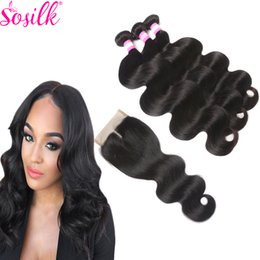 Wholesale Remi Body Wave - Cheap Remi Body Wave 3 Bundles Brazillian Hair With 1 Pcs Closure Unprocessed Raw So Silk Human Hair With Closure Remy Braiding Extensions