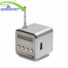 Wholesale Micro Mobilephone - Mini Music Player FM Radio PC MP3 4 Portable Micro SD TF USB Stereo Bass Speaker for iphone Smartphones Tablet Mobilephone Silver MERRISPORT