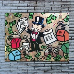 Wholesale Fly Figure - Framed Alec Monopoly New Fashion Fly Modern Abstract art Wall Decor Handcraft Graffiti Art oil painting High Quality Canvas Multi sizes