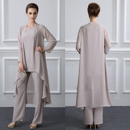Wholesale Purple Dress Jacket Wedding - Simple Elegant Mother Of The Bride Pant Suits With Jacket Chiffon Beach Wedding Guest Groom Dress Cheap Mothers Outfit Long Garment