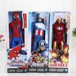 Wholesale Spiderman Models Kids - 3styles The Avengers super hero captain America iron man spiderman PVC action figure model toy good kids christms gift 30cm