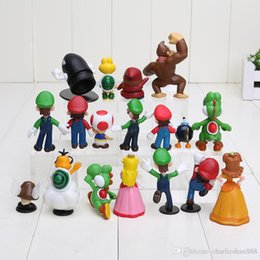 "Wholesale Super Mario Figures Toys Doll - Wholesale 18PCS Super Mario Bros 1-2.5"" Figure Toy Doll Super Mario Brothers Fun Collectible PVC figures Super mario Figure toy"