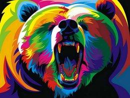 2020 animais cor pintura a óleo Home Office Decoração Sala de estar Decoração Da Parede Da Arte HD Imprime Animais Cor Urso Rei Pintura A Óleo Fotos Impresso Na Lona animais cor pintura a óleo barato