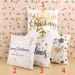 2019 almohadas de oro Feliz Año Nuevo Sello de Oro Funda de Almohada Decorativa Suave PP Algodón Copo de nieve Feliz Navidad Fundas de Almohada 45x45 cm Home Party Decor rebajas almohadas de oro
