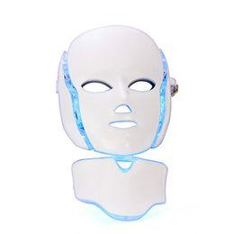 Wholesale Photon Mask - 7 Colors Light Photon Electric LED Facial Neck Mask Skin PDT Skin Rejuvenation Anti Acne Wrinkle Removal Therapy Beauty Salon