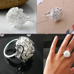 Wholesale Rose Shape Rings - Trendy Silver Plated 3D Hollow Rose Flower Shaped Opening Woman Ring Charming Jewelry Accessories RING-0237
