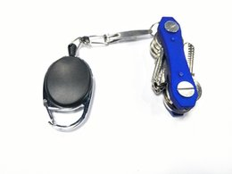 Wholesale Motorcycle Pull - 60cm Telescopic Pull Metal Keychain Keyring Anti-theft Buckle Key Chain Ring Outdoor Motorcycle Auto Zinc Alloy And ABS A468