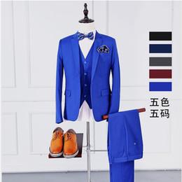 Wholesale Men Vest Boutique - Wholesale- ( jackets + vest + pants ) Pure color high-grade brand groom wedding dress slim suits Mens boutique leisure business suits Male