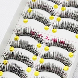 Wholesale Cheap Eyelashes Extensions - 10Pair Lot Black Thick False Eyelashes Natural Long False Lashes Eyelashes Extension Tools Makeup Cheap Eyelashe Volume Faux Cils Natural