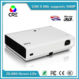 Wholesale Dlp 3d Short Throw Projector - Wholesale-CRE X3001 Portable smart short throw 3D 1280*800 DLP projector for home theater education business