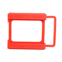 Wholesale Mounting Ssd - Wholesale- 2.5 to 3.5 Inch SSD Notebook HDD Hard Disk Mounting Adapter Dock Holder Red QJY99