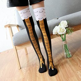 Wholesale Warm Chicken - Wholesale- 1Pair Winter Warm Cartoon Animals Stockings Women's Yellow 3D Chicken Feet Toe Cotton Blend Long Knee High Socks Free Shipping