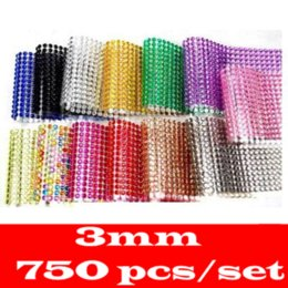 Wholesale Diamond Stickers 3mm - car-styling 3D Car Sticker 750 set 3mm Scrapbook DIY Decal car-covers Crystal Diamond Bling Rhinestone Sticker For bmw renault