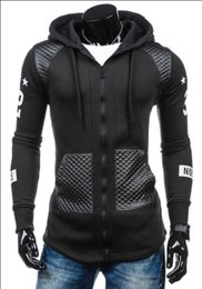 Wholesale Leather Men Sweaters Black - 2017 Men's Fashion New Winter Coat Sleeve Slim Leather Fight Print Cardigan Sweater Zipper hoodies Cotton Blend Applicable scenes: Daily