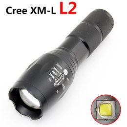 Wholesale Rechargeable Dive Torch - 2017 Updated E17 Cree LED Flashlight Waterproof Zoom Powerful XML L2 5-Mode Lamp Camping Torch By AAA or 18650 Rechargeable Battery
