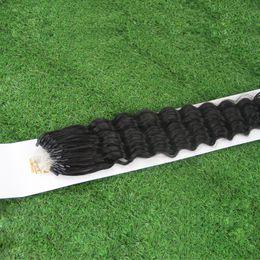 Wholesale micro loop link - JUFA Micro Ring Human Hair Extensions Mongolian Deep Wave Virgin Hair Micro Loop Links Human Hair Extension 1g 1s Unprocessed Natural Black