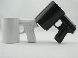 Wholesale Ceramic Cups Handles - Creative Gun Style Handle Ceramic Coffee Water Mug Cup 400ml Funny creative pistol shape ceramic cup ceramic cup c253