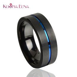 Wholesale Tungsten Rings 8mm - Keisha Lena Fashion Blue Tungsten Ring 8MM Tungsten Carbide Rings for Men Jewelry Wedding Band Free Shipping