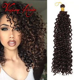 Wholesale Bulk Braiding Hair Curly - Wholesale Freetress Crochet Braiding Curly Hair Extensions 14 inch 30 roots pack Water Wave Bulk Hair Crochet Latch Hook Braiding Hair