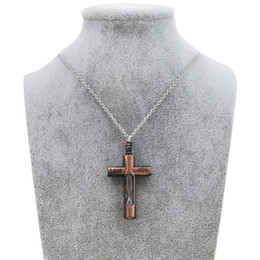 Wholesale Men Cross Pendant Prayer - Original New Vintage Female Cross Hourglass Necklaces Pendants Women Silver Chain Jesus Crucifix Necklace Men Prayer Male Christian Jewelry
