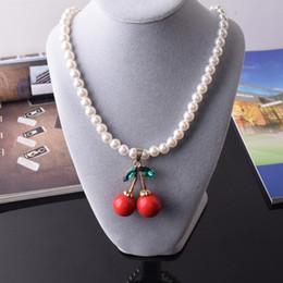 Wholesale Kawaii Rhinestones - Fashion Kawaii Kids Necklace Pearl Bead Necklace for Girl Cute Cherry Crystal Rhinestone Choker Jewelry Accessory Wholesale