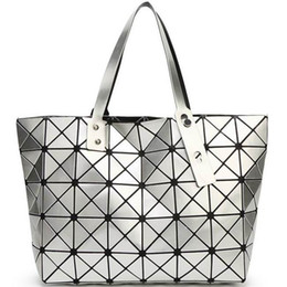 Wholesale Sequin Fold - New Foldable Geometric Split Joint Plaid Totes Big Sequins Top Handle Bag Diamond Lattice Ladies Designer Handbag Purse Women Cube Tote