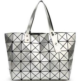 Wholesale Ladies Pvc Tops - New Foldable Geometric Split Joint Plaid Totes Big Sequins Top Handle Bag Diamond Lattice Ladies Designer Handbag Purse Women Cube Tote