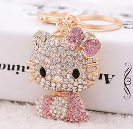2019 llavero conejito Cute Cat Bag Keychain Cute Crystal Rhinestone Mujeres Bolso Charm Metal KeyChains Llaveros colgante conejito llavero llavero conejito baratos