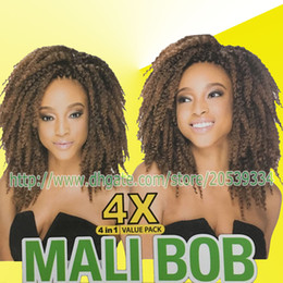 Wholesale Curly Burgundy Hair Extensions - bina 10inch marley braid synthetic crochet Hair Extension 4x mali bob braids kinky curly bulk hair synthetic braiding hair 3packs lot