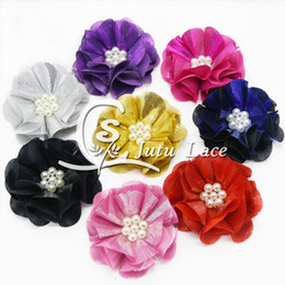 Wholesale Baby Headbands Appliques - mini hair band flower shiny chiffon fabric rose flower, wedding collar applique for baby skirt