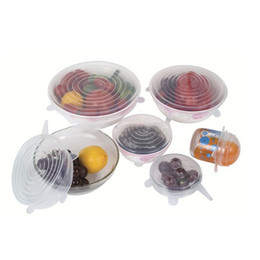Wholesale Fruits Environmental - DHL NEW 6Pcs Universal Silicone Stretch Suction Pot Lids 100% Food-grade Environmental Protection Cooking Pan Spill Lids Bowl Stopper Cover
