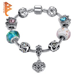 Wholesale Butterfly Beads - BELAWANG Mother's Day Gift Silver Crystal Butterfly Charm Bracelets For Women Heart Star Pendant&Murano Glass Beads Bracelets Jewelry