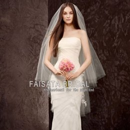 Wholesale Cheap Hair Accessories Free Shipping - Two Layers Bridal Veils Wedding Accessories Free Shipping Bridal Hair Veils High Quality Cheap Wedding Bridal Veil Long Lace Veils for Bride