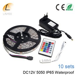 Wholesale Flexible Light Box - 5M 5050 LED Strip DC12V RGB Flexible Strip Light IP65 Waterproof 60led m 24key mini with DC12V 3A adapter EU US 10sets box