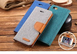 Wholesale Blackberry Leather Flip Shell - Luxury Retro cowboy canvas flip leather cover For Apple Iphone 7   7 plus phone case with wallet holder coque For iphone7 shell