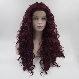 Wholesale Hair Wig Burgundy Heat - Factory supply wine red wavy synthetic lace front wigs for women fashion unbraided hair heat resistant synthetic wigs