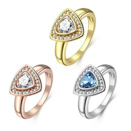 Wholesale Trinket Wholesale China - Fashion Newest Ring For Woman Rose Gold Triangle Zircon Design Trinket Elegant Copper Jewelry Anniversary Gift
