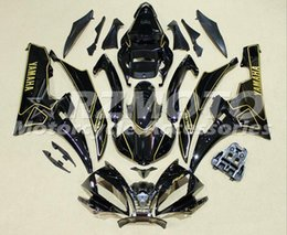 Wholesale Top Fairing R6 - New TOP Injection ABS Fairings For Yamaha YZF600 R6 Year 06 07 2006 2007 ABS Plastics Motorcycle Fairing Kit Bodywork Cowling black gold
