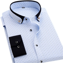 Wholesale Polka Dot Shirts For Men - Wholesale- Men's Polka Dot Print Shirts Men's Long Sleeve Slim Fit Casual Shirts New Arrival Fashion Clothes Social Shirt For Men