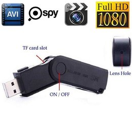 Wholesale Hidden Camera Flash Drive - SPY MINI USB U-Disk hidden camera HD 1080P USB Flash Drive Spy Camera support charging while recording black with retail box