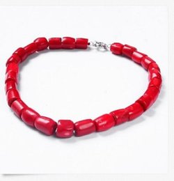 Wholesale Genuine Red Coral Beads - free shipping >>>>>18''Genuine Nature High Quality Column Red Coral Gemstone Bead Princess Necklace