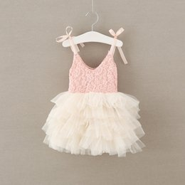 Wholesale Bud Net - New Girls Lace Dress Flower Tutu Dresses 2017 Summer Dress Children Bowknot Bubble Dresses Net Yarn Gauze Party Ball Gown Dress Pink A6308