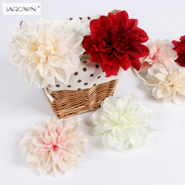 Wholesale Artificial Dahlias Flower Heads - JAROWN Artificial Flower Heads Dahlias Silk Decorative Daliy Flower Background Wall Decor DIY Road Led Wedding Flower Bouquet