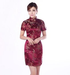 Wholesale New Qipao - Wholesale- Burgundy Traditional Chinese Classic Dress Women's Satin Cheongsam New Summer Mini Qipao Size M L XL XXL Mujere Vestido Jy4061