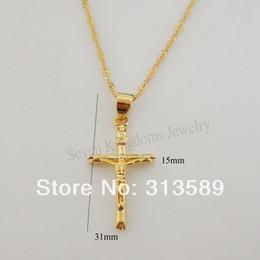 "Wholesale Yellow Gold Jesus Pendant - Wholesale-min order 10$ NEW DESIGN 24K YELLOW GOLD OVERLAY 18"" NECKLACE & JESUS CROSS GOD PENDANT CUTE SHAPED"