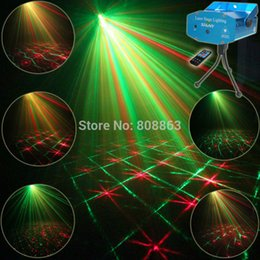 Wholesale Disco Party Laser Remote - Wholesale- Mini R&G Remote 12 Patterns Laser Projector Club Bar Coffee Shop Dance Disco Home Party Xmas DJ Effect Light Show Tripod R12