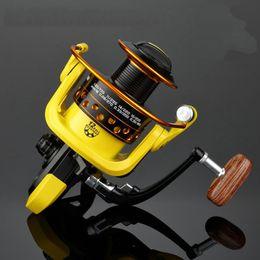 Wholesale Hd Wheels - German Technology Spinning 5.2:1 Fishing Reel 12BB Bearing Ball 1000-7000 HD Series Foldable Wooden Handle Metal Bait Fishing Wheel Yellow