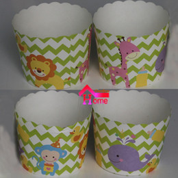 Wholesale Wholesale Wave Baking Cups - Wholesale-50pcs Cute Green Wave background Lion Monkey dolphin giraffe animal themes Paper Cake Cup Baking Cup birthday Party cake cup