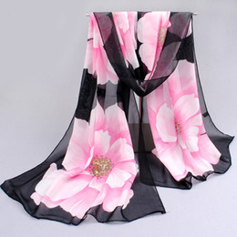 Wholesale Silk Scarfs Neck - 10pcs Women Thin Flower Chiffon Scarves Print Floral Polyester Scarf Shawl Neck Wrap Stole Spring Autumn Accessories Summer Beach Silk Cape